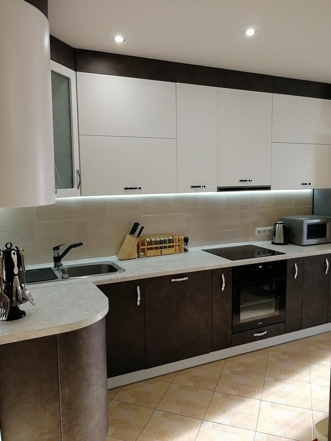 Комбинированные кухни-Кухня МДФ в ПВХ «Модель 27»-фото3