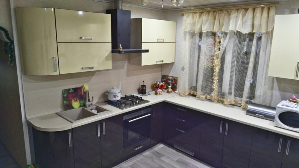 Кухни на заказ-Кухня из шпона «Модель 344»-фото1