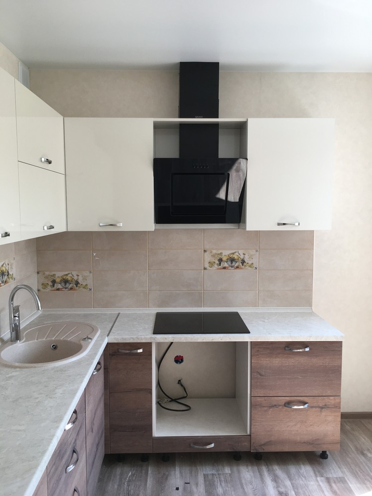 Белый кухонный гарнитур-Кухня МДФ в шпоне «Модель 318»-фото4