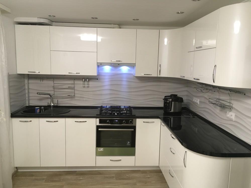 Белый кухонный гарнитур-Кухня МДФ в ПВХ «Модель 311»-фото3