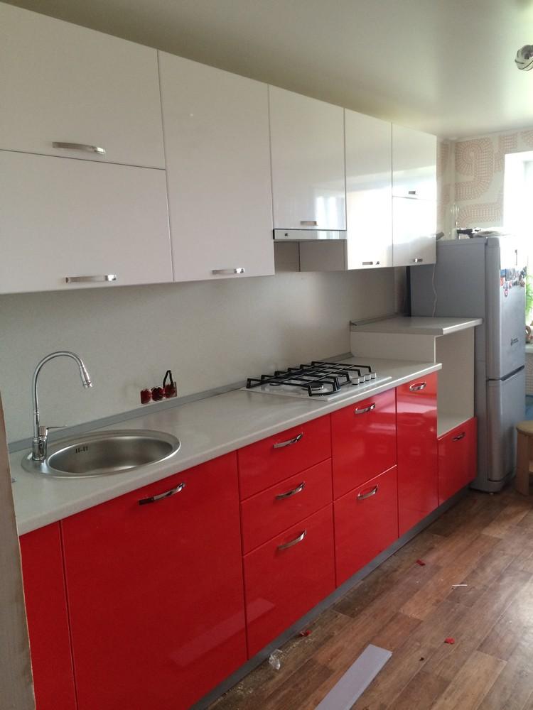 Белый кухонный гарнитур-Кухня МДФ в эмали «Модель 312»-фото3