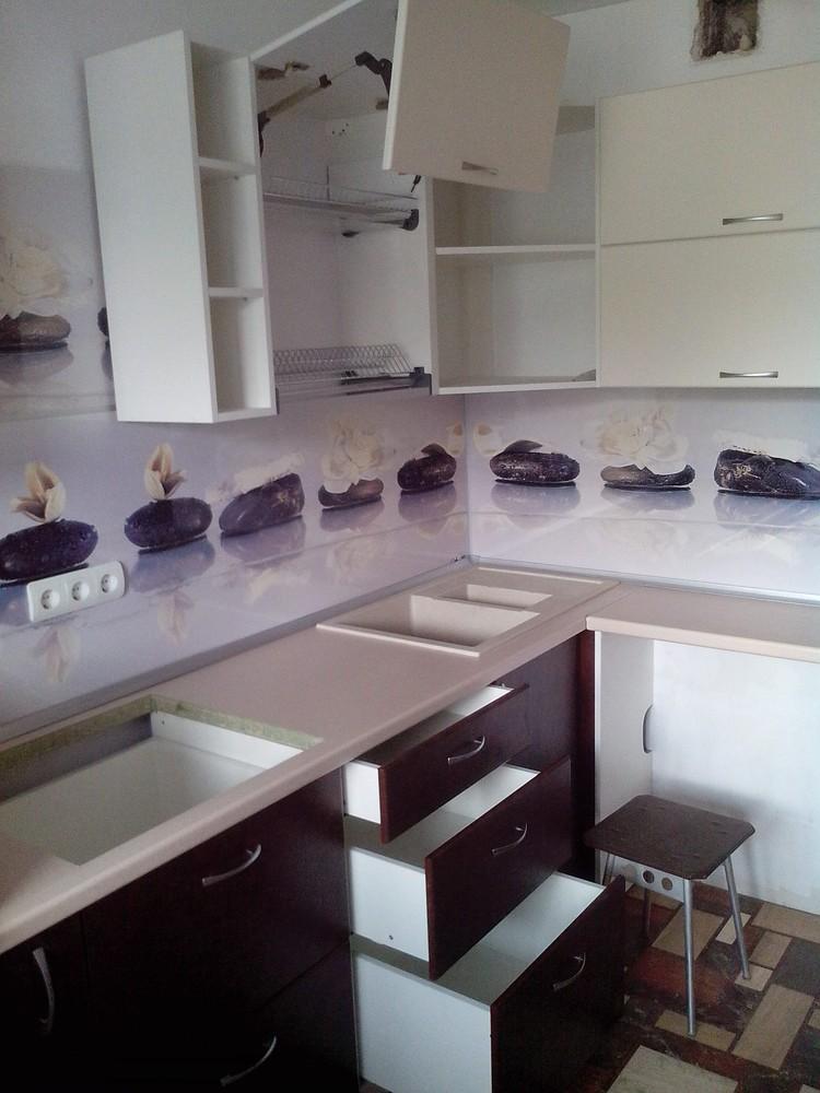 Белый кухонный гарнитур-Кухня МДФ в ПВХ «Модель 327»-фото4