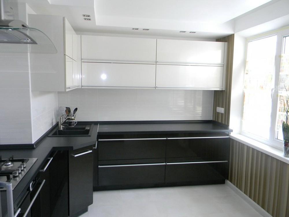 Встроенная кухня-Кухня МДФ в эмали «Модель 257»-фото1