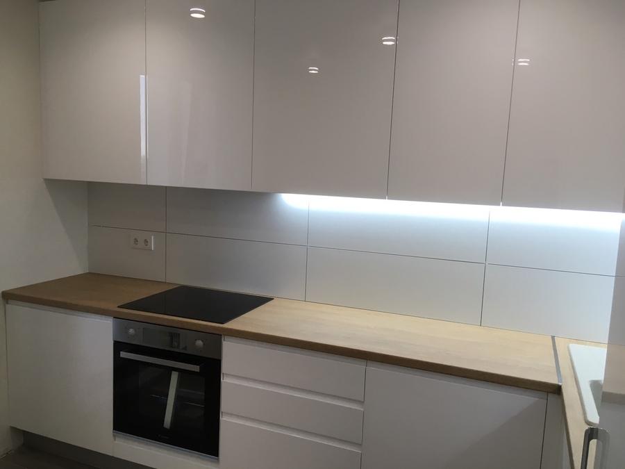 Белый кухонный гарнитур-Кухня МДФ в эмали «Модель 433»-фото4