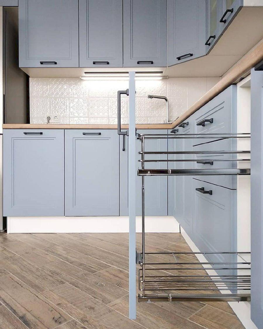 Высокие кухни под потолок-Кухня МДФ в эмали «Модель 640»-фото5