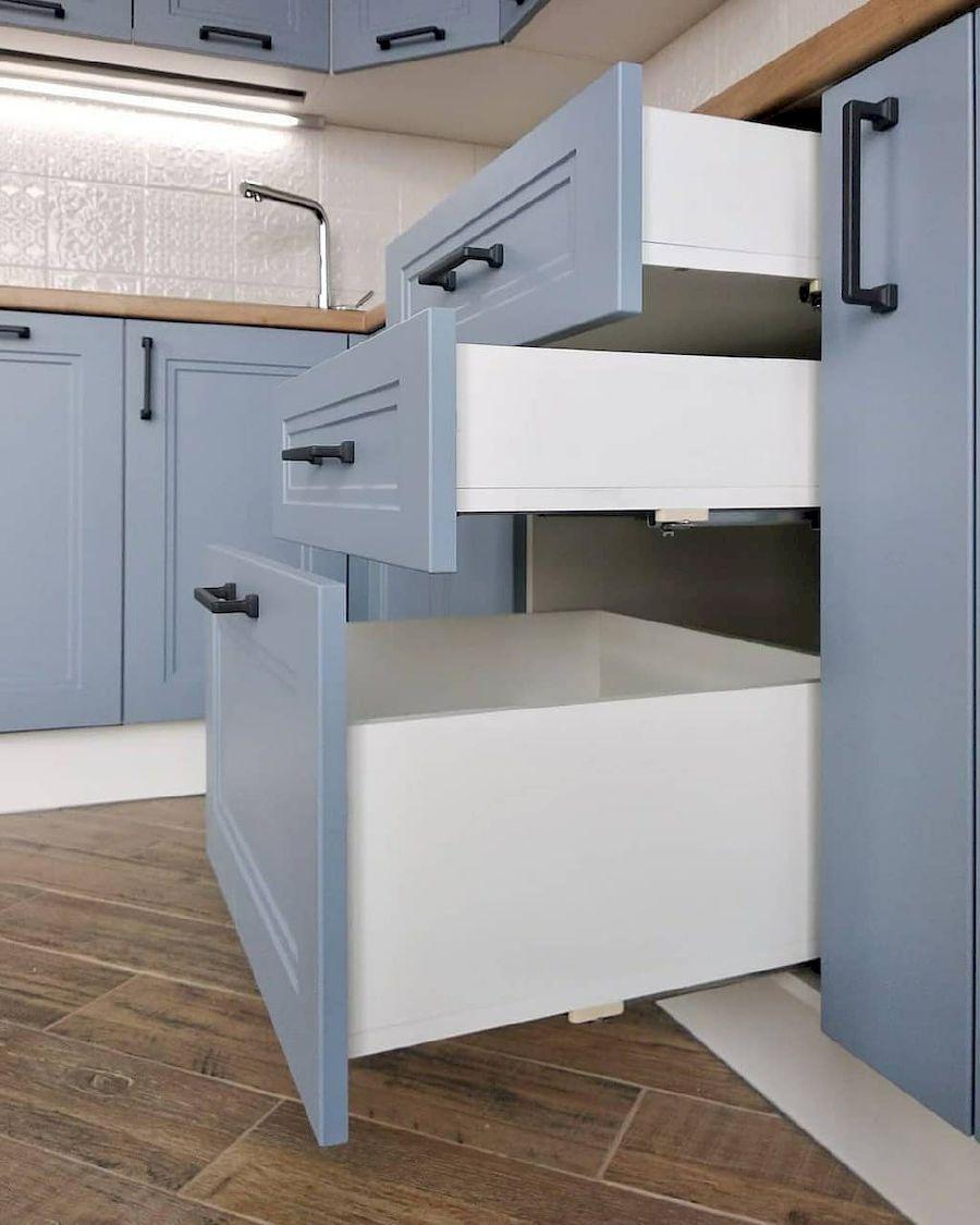 Высокие кухни под потолок-Кухня МДФ в эмали «Модель 640»-фото6
