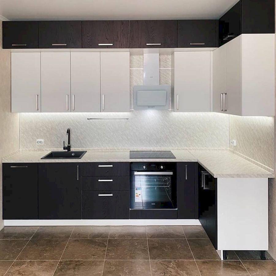 Белый кухонный гарнитур-Кухня МДФ в ПВХ «Модель 681»-фото1