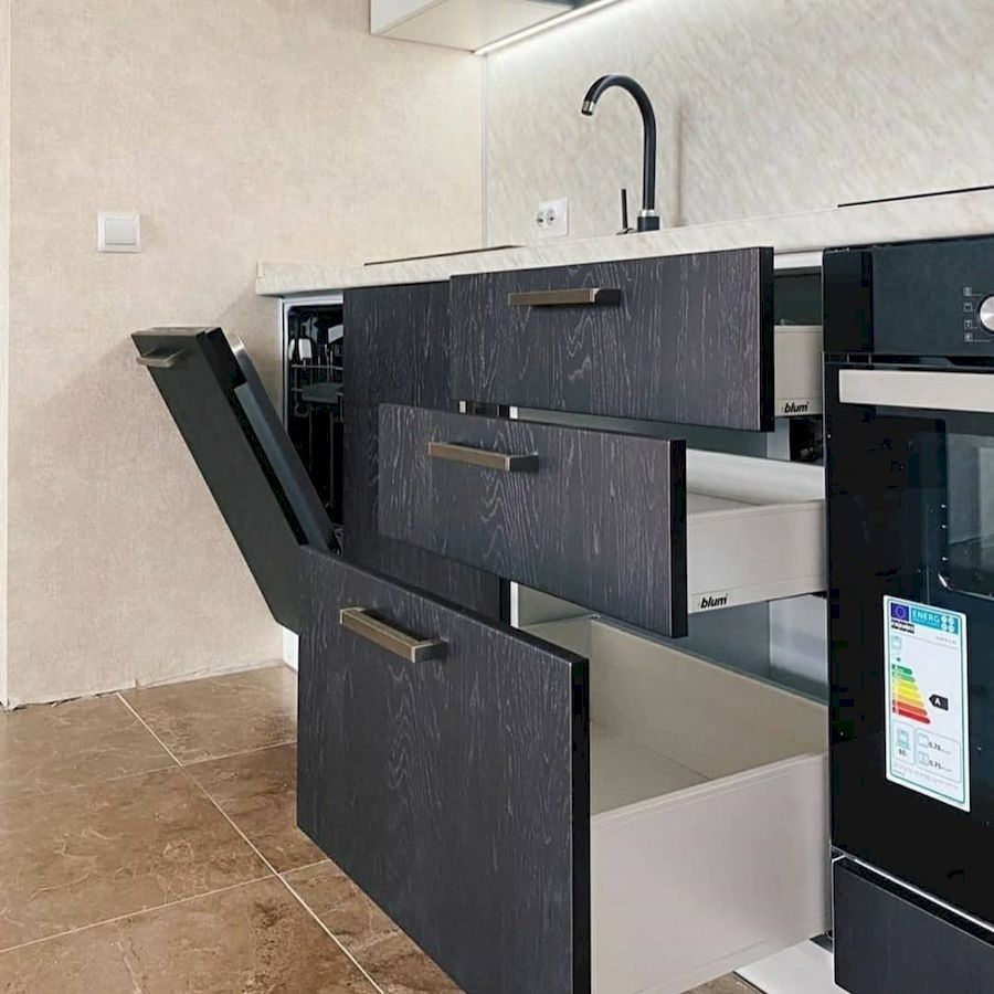 Белый кухонный гарнитур-Кухня МДФ в ПВХ «Модель 681»-фото3