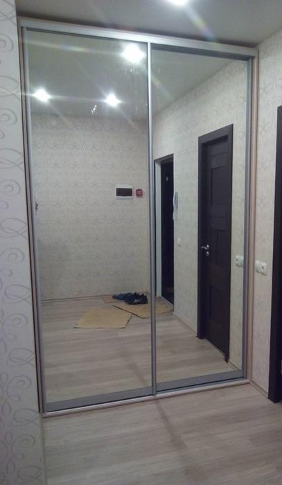 Встроенные шкафы-купе-Шкаф-купе с зеркалом «Модель 73»-фото1