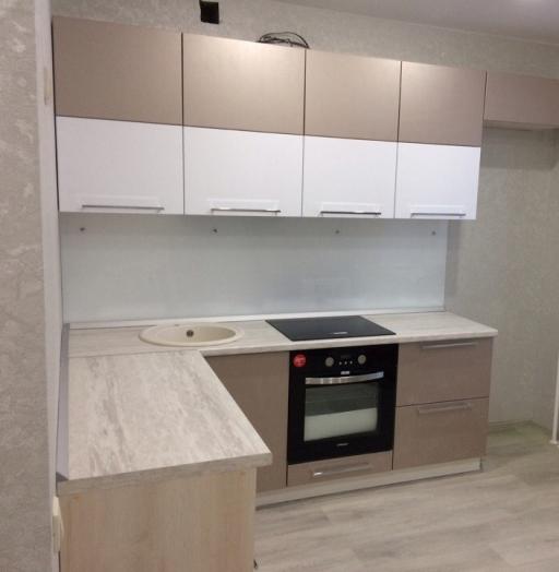 Белый кухонный гарнитур-Кухня из пластика «Модель 454»-фото3